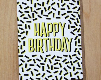 90's Sprinkle Happy Birthday, letterpress greeting card