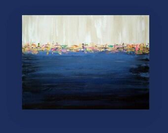 "Art, Large Painting, Original Abstract, Acrylic Paintings on Canvas by Ora Birenbaum Titled: Night Life 30x40x1.5"""