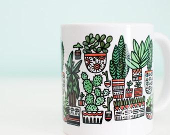 Plant Coffee Mug / Succulents and Cactus / 11oz Coffee Mug