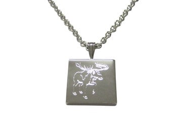 Silver Toned Etched Moose Pendant Necklace