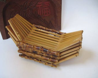 Vintage Set Of 5 Small Bamboo Trays