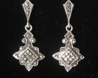 """SALE Sterling Silver & Marcasite Dangle Post Earrings in the Art Deco Style.  1-7/16"""" L x 5/8"""" W.  Pyrite Marcasites."""