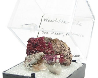 Wendwilsonite Rare Wine Red Crystalline Druzy on ore Rock Matrix Cobalt Thumbnail Mineral Specimen, African Gemstone