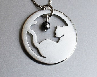 Silver Pendant, Silver Jewellery, Cat Jewelry, Cat Pendant, Cat and ball.