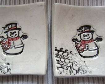 Two Sweet Holiday Snowmen In Black and White Tea Bag Holders Ring Holders Ceramic Hand Made