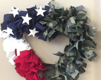 "12"" Heart Patriotic Military theme wreath"