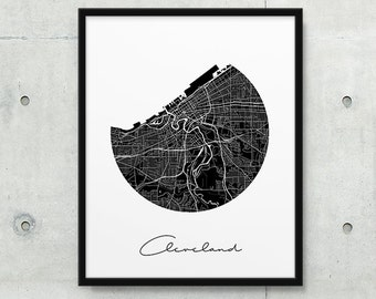 Cleveland City Street Map Print. Cleveland Urban Map Poster. Black & White Cleveland Ohio Map Print. Geometric Map Home Decor. Printable Art