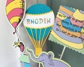 Oh, The Places You'll Go Centerpiece/ Cake Topper/ Hot Air Balloon/ Birthday Party Decor/ Personalized Table Decor/ Name/ Age/ Dr. Seuss