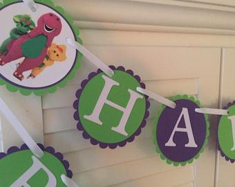 Barney the Dinosaur Birthday Banner/ Happy Birthday Banner/ Garland/ Baby Bop/ Purple/ Green/ White/ Name Banner/ Age