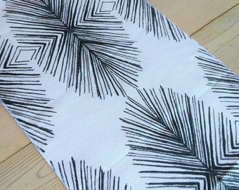 Table Runner White & Black Modern Pine Cone FREE SHIPPING, Casual Contemporary Table Decor, Made in America
