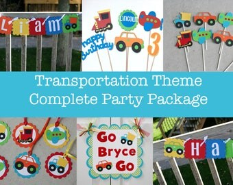 Transportation Birthday Party Package, transportation Banner, transportation Birthday Decorations, 1st Birthday, Car and truck Banner,