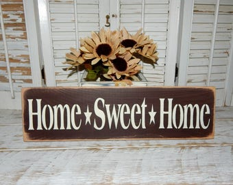 Home Sweet Home Sign Primitive Rustic Country Home Decor Ready To Ship