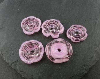 5 assorted pink handmade lampwork glass discs