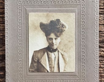 Original Antique Matted Photograph Rebecca with the Fancy Hat