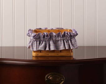 Lavender Stripe Small Basket Garter, Basket Accessories, Basket Decor, Home Decor, LorDel Linens