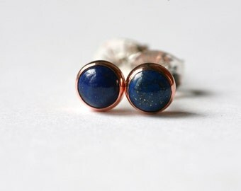 Tiny Lapis-Lazuli 4mm Copper, and Sterling Silver Stud Earrings