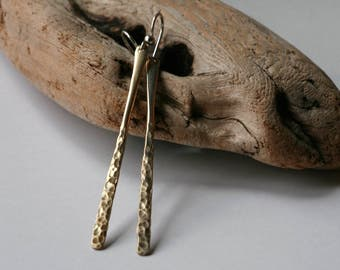 Rustic Brass Minimalist / Tribal Style Hammered Dimple Stick Dangle Earrings in Satin Brass Patina