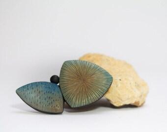 big geometric brooch in soft blue and brown, elegant polymer clay shawl pin, art jewelry by Jagna Birecka