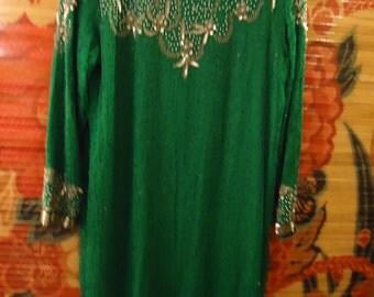 Vintage 1990s Green Boho Embellished Beaded Dress