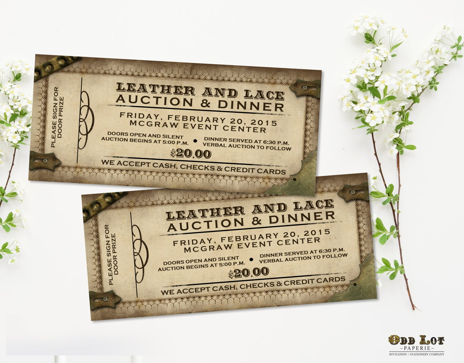 Steampunk Ticket Invitations Offbeat Party Invitations