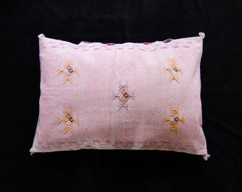 Moroccan Handmade Pink Cactus Pillowcase Home Accessory Couch Accents Bedroom Pillow Kilim Sabra Silk Pink Color