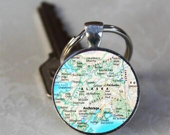 Alaska Map Glass Dome Keychain (GDKC0614)