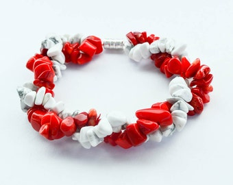 Red and White Stone Chip Bead Twisted Bracelet with Magnetic Clasp Women's Jewelry Gifts for Her Valentine