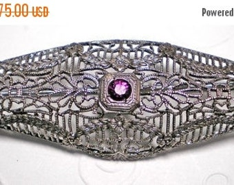ON SALE Sterling Filigree Oval Brooch with Amethyst   ITEM No: 12114