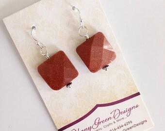 Goldstone Earrings, Burnt Orange, Sterling Silver, Beaded Earrings, Shimmery Bead Earrings