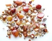 BULK BEADS - Swarovski - Peach Orange Agate Focal - Aventurine - Freshwater Blister Gold Pearls - Czech Rondelle - Silver-over 145+ beads