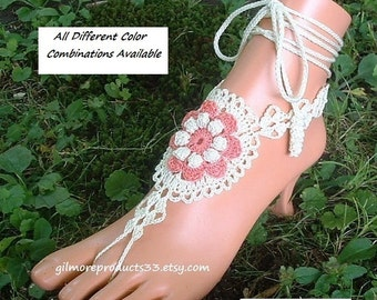 Coral LAYERED Barefoot Sandals Flower Shoes Women's Foot Jewelry Beach Wedding Anklet Sized Ankle Necklace Crochet Footless Sandles