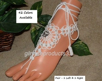 Beach Wedding Barefoot Sandals Beaded Shoes Toe Thong Foot Jewelry Beach Wedding Barefoot Sandals Bridal Beaded Crochet Lace Barefoot Sandal