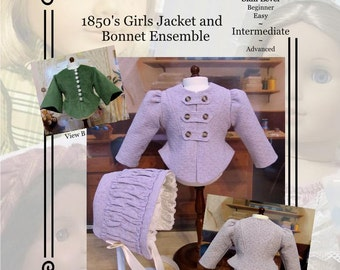 "PDF Pattern KDD02 1850s Girl's Jacket & Bonnet. An Original KeepersDollyDuds Design, 18"" Doll Clothes"