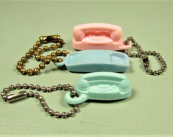 Telephone Keychain Lot - Vintage Trimline Princess Rotary Pink Blue Green