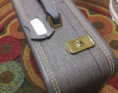 Vintage American Tourister retro hipster grey tweed luggage suitcase