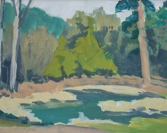 Original Plein Air Painting Memories of a Pond Gouache Matted