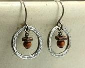 SALE 15% OFF Aged Hammered Silver Earrings with Red Creek Jasper, Sterling Silver Earrings, Dangle Earrings, Southwestern Earrings, Hoop Ear
