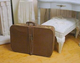 Vintage Leather Suitcase Storage Function Decorative Shabby Cottage Chic
