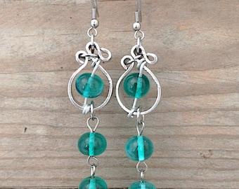long dangle green handblown lampwork glass earrings