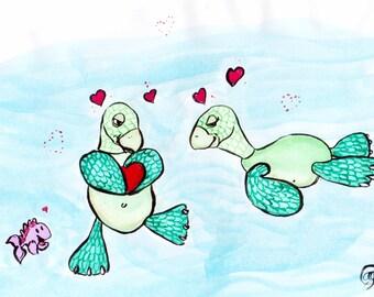"8x10 Marine Art Print ""Turtle Love"" Painting by Ally Cross"