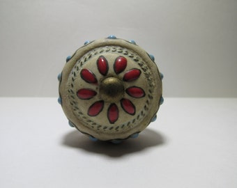 Red Turquoise Stoneware Wine Bottle Stopper