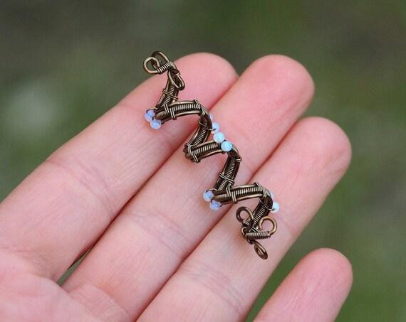 Opalite Wire wrapped hair twister Dread bead Rasta dreadlock cuff loc accessories Spiral Viking Hair wrap beads Beard dead Fashion hair