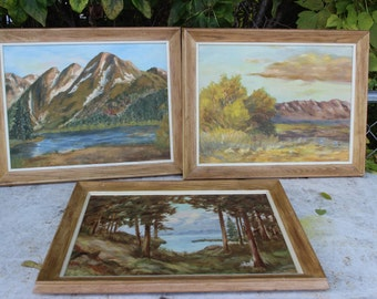 M. Bruehl Paintings on Board Framed Set of 3 Landscape Lake Trees Mountians Vintage 1965