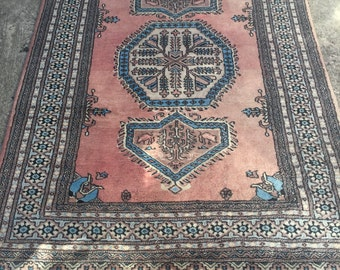 Vintage Persian Rug in Pastel Coral and Blue