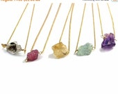 20% off. Simple Rough Gemstone Necklace. Wire Wrapped Raw Gemstone. Gold Fill or Sterling Silver.Tourmaline, Citrine, Aquamarine, or Amethys