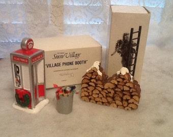 Dept. 56 Snow Village Accessories Phone Booth Trash Can Log Pile & Man on Ladder Hanging Garland