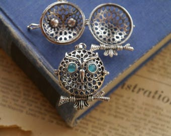 Antique Silver Owl on Branch Locket OPENS Hollow Diffuser Necklace Pendant Charm 52mm (SC3159)