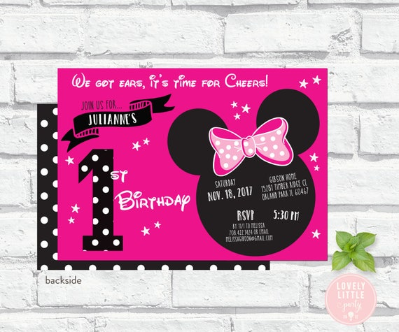 Pink Minnie Inspired Invitation Kit - Invite AND Thank You Card included - printable or printed options - Lovely Little Party