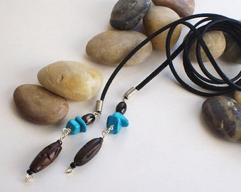 Western Lariat Necklace, Black Leather Suede, Turquoise, Agate, & Natural Carved Wood Beads. Beautiful Western Jewelry. FREE USA Shipping