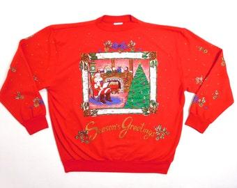 Vintage Santa Seasons Greetings Red Christmas Gold Sparkly Print  80s Xmas Holiday Time USA Made Sweatshirt / Fits Mens Med or Womens Lg